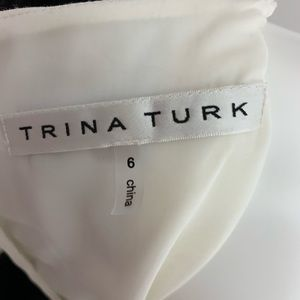 Trina Turk Black White Ivory Short Sleeve Dress